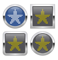 Dotted icon star on glossy button in four vector