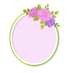 Empty spring decorative frame gentle purple roses vector