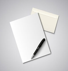 Envelope with paper and pen template vector image