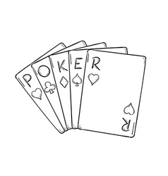 Five poker cards vector