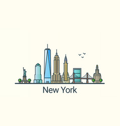 Flat line new york banner vector