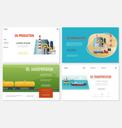 flat oil industry websites set vector image