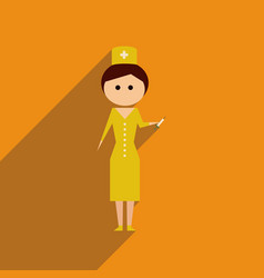 Flat web icon with long shadow woman doctor vector