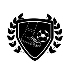 foot kicking ball football soccer emblem image vector image