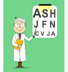 Fun cartoon ophthalmologist testing visual acuity vector image