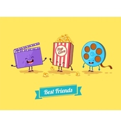 funny cartoon Funny popcorn clapboard and vector image