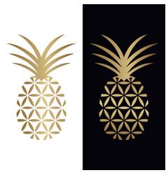 Golden pineapple logo design vector