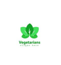 green leafs nature farm logo template vector image