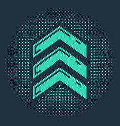Green military rank icon isolated on blue vector