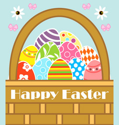 Happy easter background card with basket vector