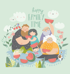 happy family eating watermelon in park vector image