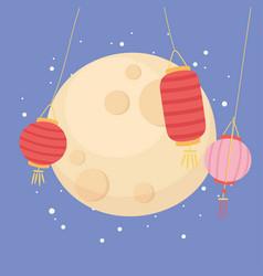 happy mid autumn festival full moon and lanterns vector image