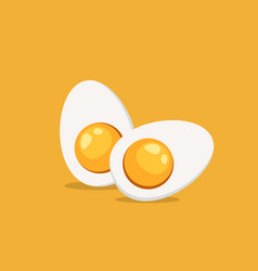 hard boiled sliced egg vector image
