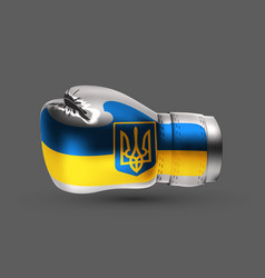 isolated boxing glove ukraine flag realistic 3d vector image