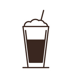 latte coffee glass isolated linear icon vector image