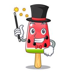 Magician ice cream watermelon on shape mascot vector