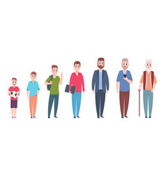 Man character age stages cartoon people vector