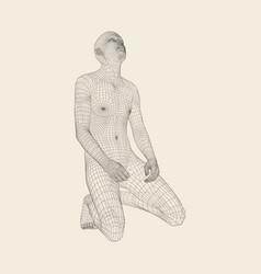 Man kneeling and praying to god 3d human body vector