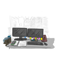 messy business office desk in the room vector image