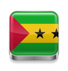 Metal icon of Sao Tome and Principe vector
