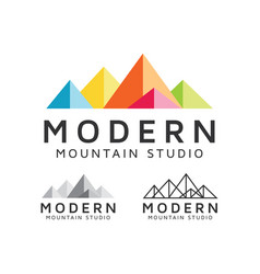 Modern mountain studio logo design vector