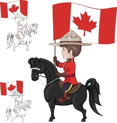 Mountie on horse with flag of Canada in hand vector