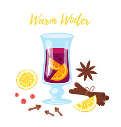 mulled vine with ingredients vector image