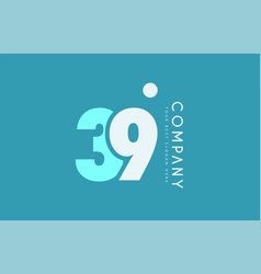 Number 39 blue white cyan logo icon design vector