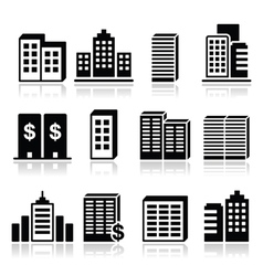 Office buildings business center icons set vector