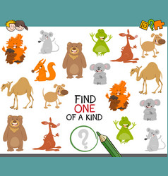 One a kind game with animals vector