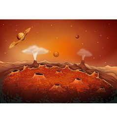 Outer space with planets vector