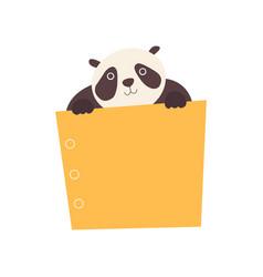 Panda bear holding yellow empty banner cute vector