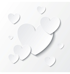 Paper hearts Valentines day card on white vector image