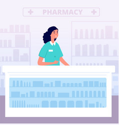 Pharmacist pharmacy store medications hospital vector