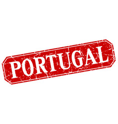 portugal red square grunge retro style sign vector image
