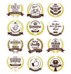 Premium quality of laurel wreaths collection vector