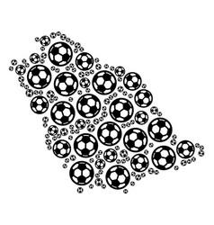 Saudi arabia map mosaic of soccer balls vector