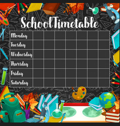 School timetable or lesson schedule on chalkboard vector