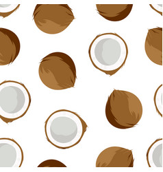 seamless pattern with coconuts isolated on white vector image