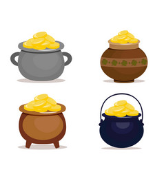 Set of ceramic pots full of gold coins for patrick vector