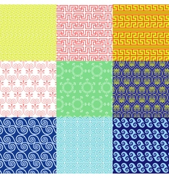Set of ethnic Greek geometric and floral patterns vector