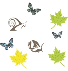 set of fun insects vector image