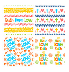 set of hand drawn christian patterns vector image