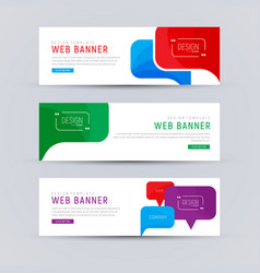 set of white web banners with colored bubbles vector image