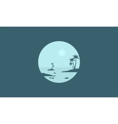 Silhouette of seaside and palm scenery vector