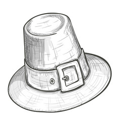 sketch style pilgrim hat vector image