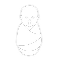Sleeping swaddled newborn baby vector