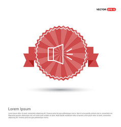 Sound volume icon - red ribbon banner vector