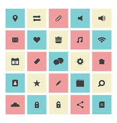 Square Flat Website Icons Set vector image