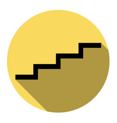 Stair up sign flat black icon with flat vector
